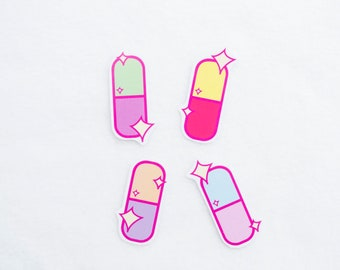 Sugar Pills Stickers Stationery Kawaii Cute Lolita Fairy Kei Harajuku Adorable Pastel Sparkly Sparkles Sparkle Medicine Pink Green Purple
