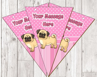 BP74 pug personalised flag bunting x 10 flags with ribbon