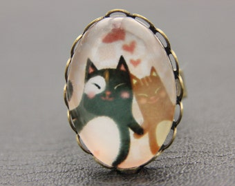Cats in love ring, Cat ring, Cat jewelry, love ring, love jewelry, (2020B)
