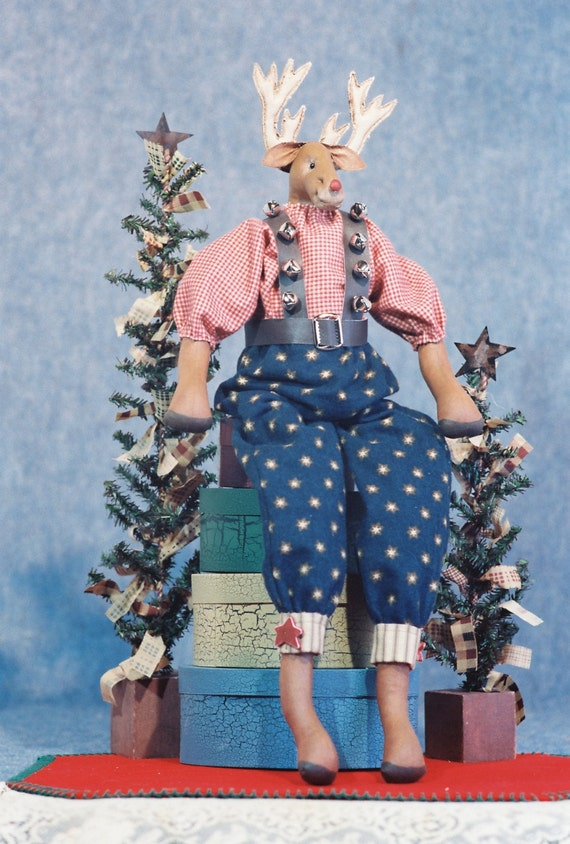 Rudy - Mailed Cloth Doll Pattern - 22in Dressed Christmas Reindeer Doll