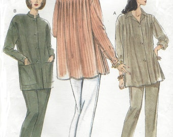 1990s Womens Tunics in 2 Styles and Tapered Pants Collar & Sleeve Variations Vogue Sewing Pattern 9460 Size 16 Bust 38 Lagenlook Patterns