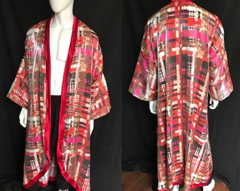 Shimmery Satin Kimono with Red Satin Trim, Loungewear, Robe, Festival Clothing, Menswear, Costume
