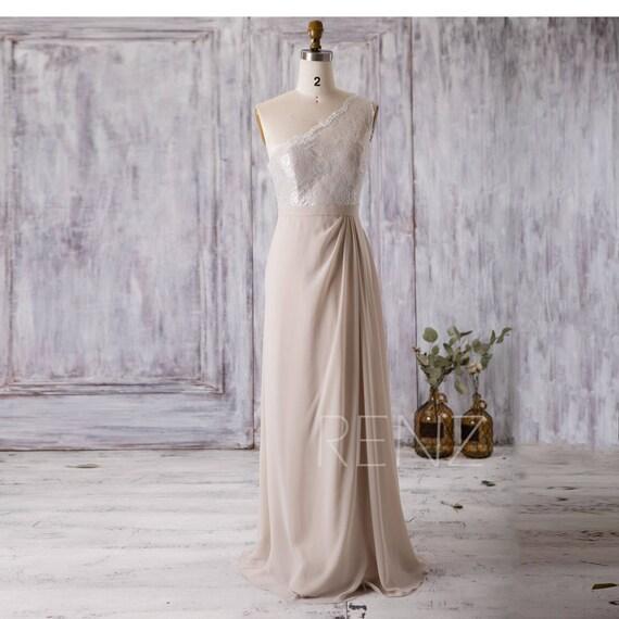 Cream/Beige Bridesmaid Dress Long One Shoulder Wedding Dress