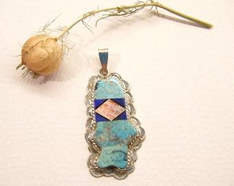 Vintage Pendant, Oscar Alexius, Navajo Jewelry, Fish Pendant, Signed Jewelry, ANIMAL CHARITY DONATION