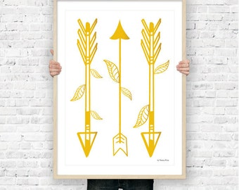 Tribal arrows wall art print-arrows poster-tribal poster-gold arrows wall art-modern home decor-nursery art-boho art-NATURA PICTA-NPS009