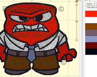 Inside Out Anger Emotion Embroidery Design ~ INSTANT DOWNLOAD ~ 4x4, 5x7, and 6x10 Sizes