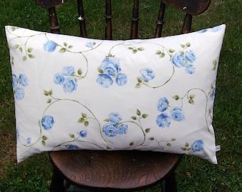 Sale pillow cover, decorative pillow, blue pillow cover, floral pillow, flower pillow, lumbar pillow, blue flower pillow, blue cushion cover