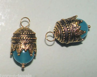 Crowned Maharajah Peruvian Opal Blue INTERCHANGEABLE Earring Charms Earring Jackets YG or SS
