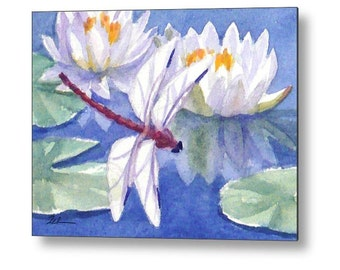 Dragonfly Art, Printed Wall Art, Water Lilies Watercolor Print on Wood, Cottage Chic Decor, Waterlily Pond by Janet Zeh Zehland