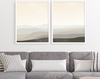 Wall Art Set of 2 Prints, Scandinavian Prints, Large Neutral Abstract Art Print Set, Modern Wall Art, Living Room Decor, Abstract Landscape