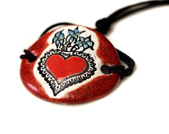 Heart Ceramic Bracelet in Sparkly Red