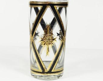 Vintage Culver Tumbler - Black and Gold Maltese Cross