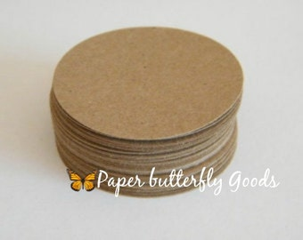 Kraft Paper Brown Circles 2.5 inches set of 100