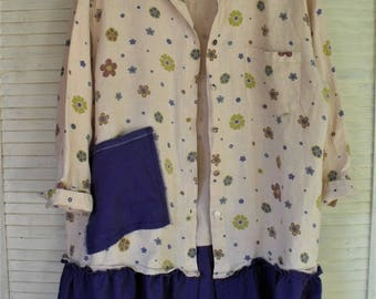 Linen Jacket/ Repurposed Plus Size/ Linen-Cotton Tunic/ 2-3X Jeans Top/ Funky Funwear/ Restyled Thrift/ Sheerfab Handmade