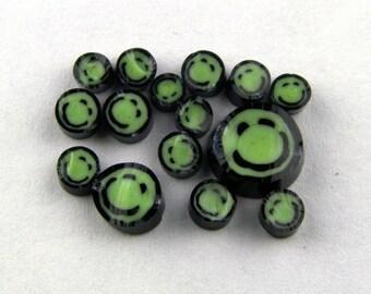 Handmade Lampwork Murrine Green Smiley Face 104 COE Murrini slices 15 - R