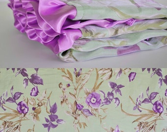 On Sale!! GWEN BABY BLANKET / Sage Lavender Floral satin /  Lilac Minky swirls and ruffled trim / Elegant modern and unique baby shower gift