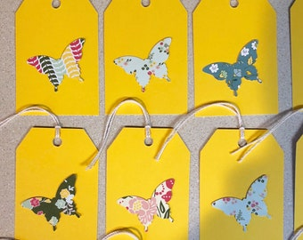 Butterfly 20 Yellow Tags 2 1/4 x 3 3/8