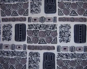 Vintage Cofabco Black Grey White Barkcloth Fabric 3+ Yards Atomic Abstract Mid Century Mod Bark Cloth Biomorphic