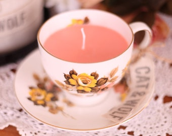 Vintage Tea Cup Candle (Soy wax/Sicilian blood orange)