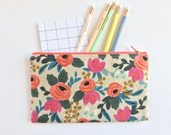 Rifle Paper Co Fabric Zipper Pouch, Pencil Case, Rosa Floral Pencil Pouch, Coral Cosmetic Bag, Gift bag