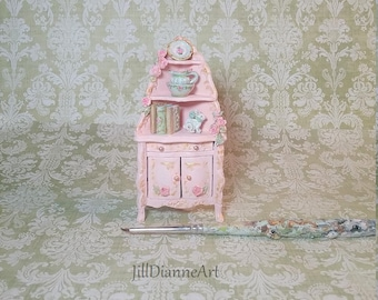 1:24 half scale Pink French Cottage Corner Cupboard - Bespaq cabinet hand-sculpted roses - Jill Dianne Dollhouse Miniatures