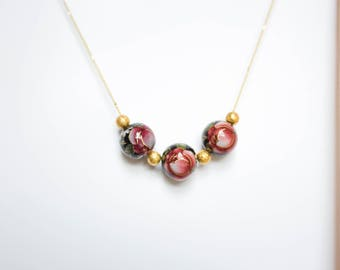 Black Rose and Gold Beads Necklace