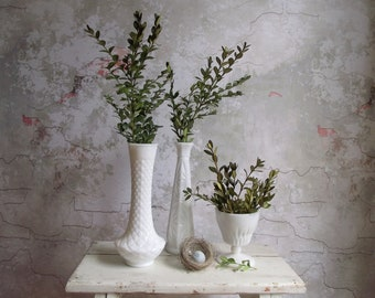 Milk Glass Vases , Set of 3 Vintage Diamond Patterned White Milk Glass Vases , Instant Vase Collection , Cottage Chic Bridal Wedding Decor