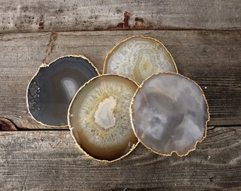 Large Gold Rimmed Natural Blue Gray and Brown Agate Slice Coasters S/4 Electroplated Geodes