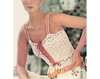 Crochet Camisole Pattern Lacy Peplum Flounce Camisole Top Crochet Pattern Button Front Top PDF Instant Download Womens Size 6 to 14 - C67