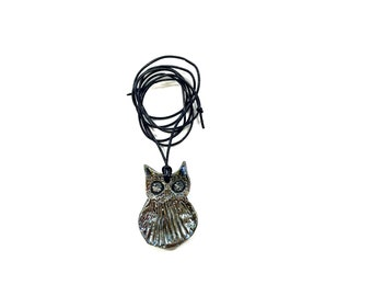 Raku Ceramic Owl Pendant ~ Raku owl necklace, Raku jewelry, owl lover gift, gift for her, nature jewelry, owl jewelry,