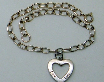 Vintage Sterling Heart Charm Bracelet - Silver Love Heart - Sweetheart Bracelet - Heart Charm - 6 To 7 Inch Wrist