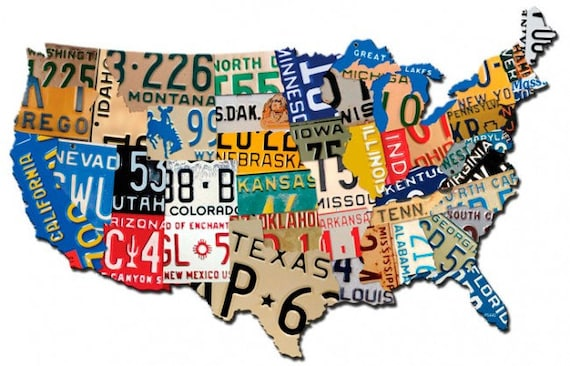 USA License Plate Map 35 x 21 plasma cut metal sign United