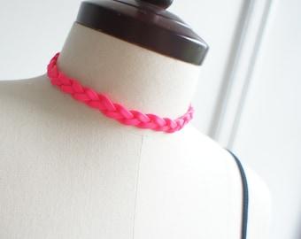 Fluorescent Hot Pink Braided Choker Necklace, also bracelet, bangle, wristlet