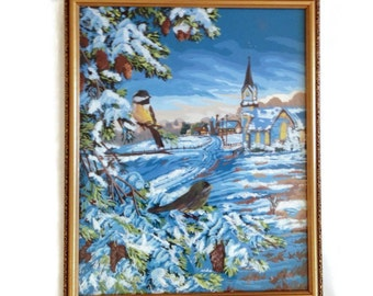 Paint by Number Vintage Wall Art Winter Scene PBN  Chickadees Trees Snowy Scene Church Framed Art