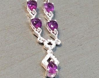 Sterling Silver Amethyst Necklace / Amethyst Jewelry / Amethyst Gemstone / February Birthstone / Amethyst Necklace