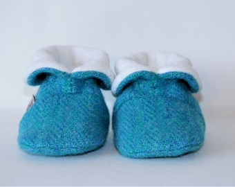 Baby Booties, Harris Tweed Baby Booties, Baby Shower Gift, Baby Boy, Blue Baby Booties, Blue and Green Baby Booties, Scottish Baby Gift