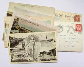 Vintage UK seaside postcards: pack of 10 UK postcards featuring coastal images. Ephemera for scrapbooks, craft, collecting PC165
