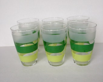 yellow and green drinking glasses, vintage glass tumblers, juice glasses, water glasses, glass cups, spring table decor, set of 6 glasses