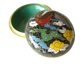 Cloisonne Deer and Bird Round Box - Vintage Cloisonne - Chinese Cloisonne Box