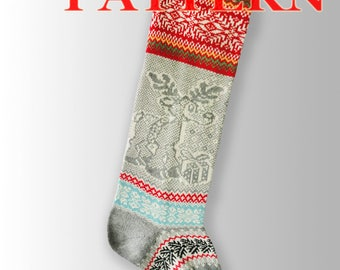 PDF for Santa Stockings/Christmas Stocking/ Fair Isle knitting instruction / Christmas Reindeer / PDF Knitting Pattern –A 16