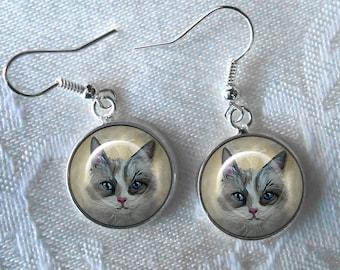 Cat Drop Earrings  ~ Birthday Gift ~ Cat Earrings ~ Pet Keepsake ~ Gifts for Her
