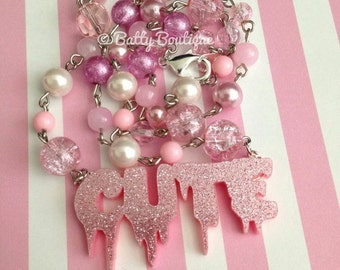Creepily Cute // Beaded Necklace // Pink Nightmare