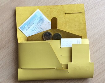 Women wallet/Minimalist wallet/Iphone wallet/Origami wallet/Leather wallet/SINTIO YELLOW WALLET/Handcrafted/Designer wallet
