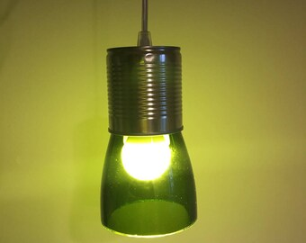 Recycled glass bottle pendant