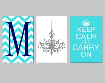 Wall Art - Keep Calm Carry On, Chevron Monogram Initial, Chandelier Trio - Set of Three 11x17 Art Prints - CHOOSE YOUR COLORS