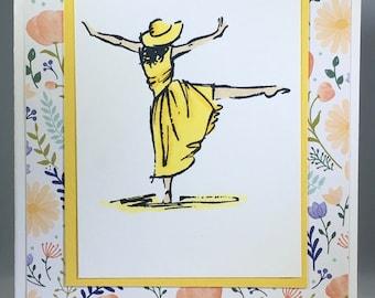 Lady Dancing, yellow, hat, happy, friend, blank, card