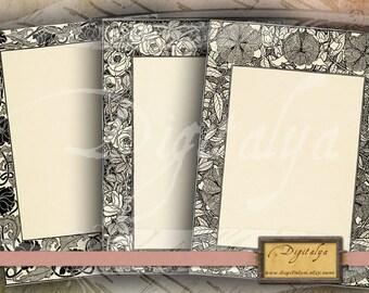 Téléchargement immédiat de 4-5 feuilles de Collage numérique - Buy 3 Get 1 Extra Free - les cartes encadré FLORAL ART NOUVEAU