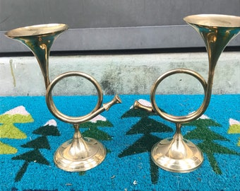 Brass french horn candlestick holders made in India