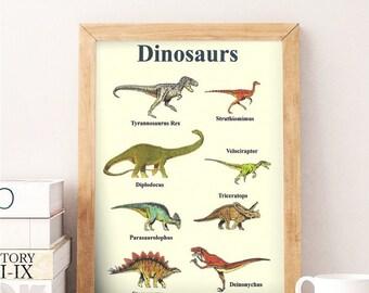 Dinosaur poster wall art print - Educational home decor artwork