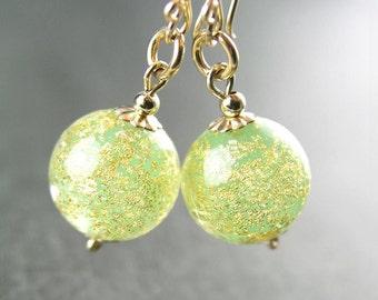 Gold Peridot Earrings Authentic 24k Gold Foil Venetian Murano Glass Earrings 14k Gold Fill Peridot Dangle Earrings August Birthstone